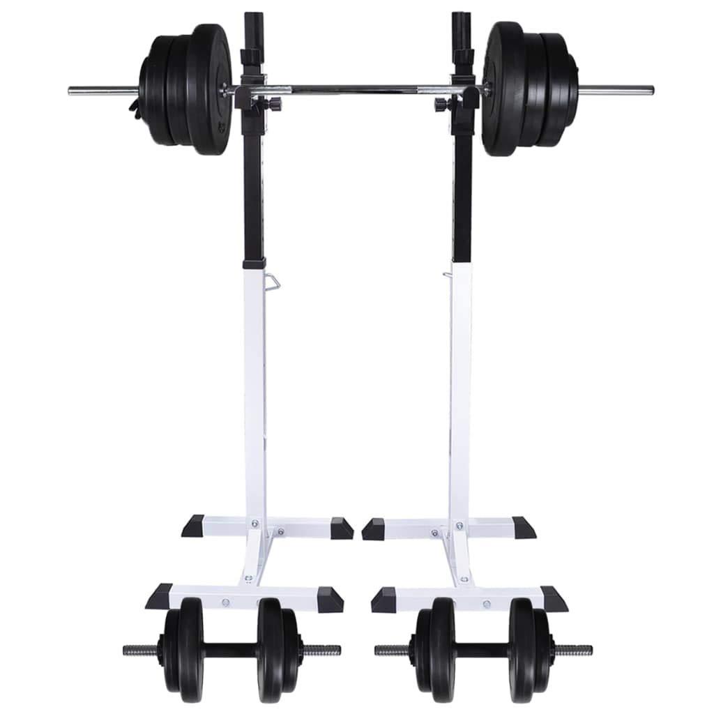 VidaXL Kniebeugenständer mit Hantel Set 60,5kg Langhantelständer Hantelablage