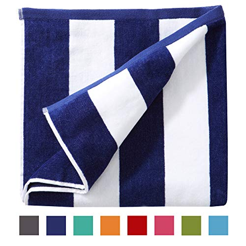 Great Bay Home Oversized Plush Velour 100% Cotton Beach Towel. Cabana Stripe Pool Towel for Adults. (Navy, 40