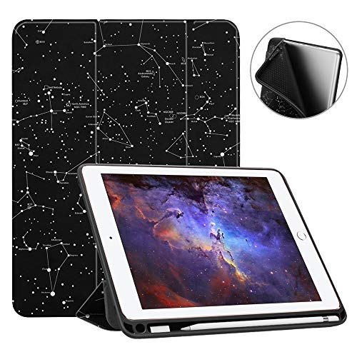 Fintie iPad 9.7 2018 Case with Built-in Apple Pencil Holder - [SlimShell] Lightweight Soft TPU Back Protective Stand Cover with Auto Wake/Sleep for Apple iPad 2018 9.7 Inch (6th Gen), Constellation