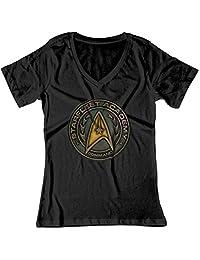 BSW Women's Star Trek Starfleet Academy Command Metal Logo V-Neck