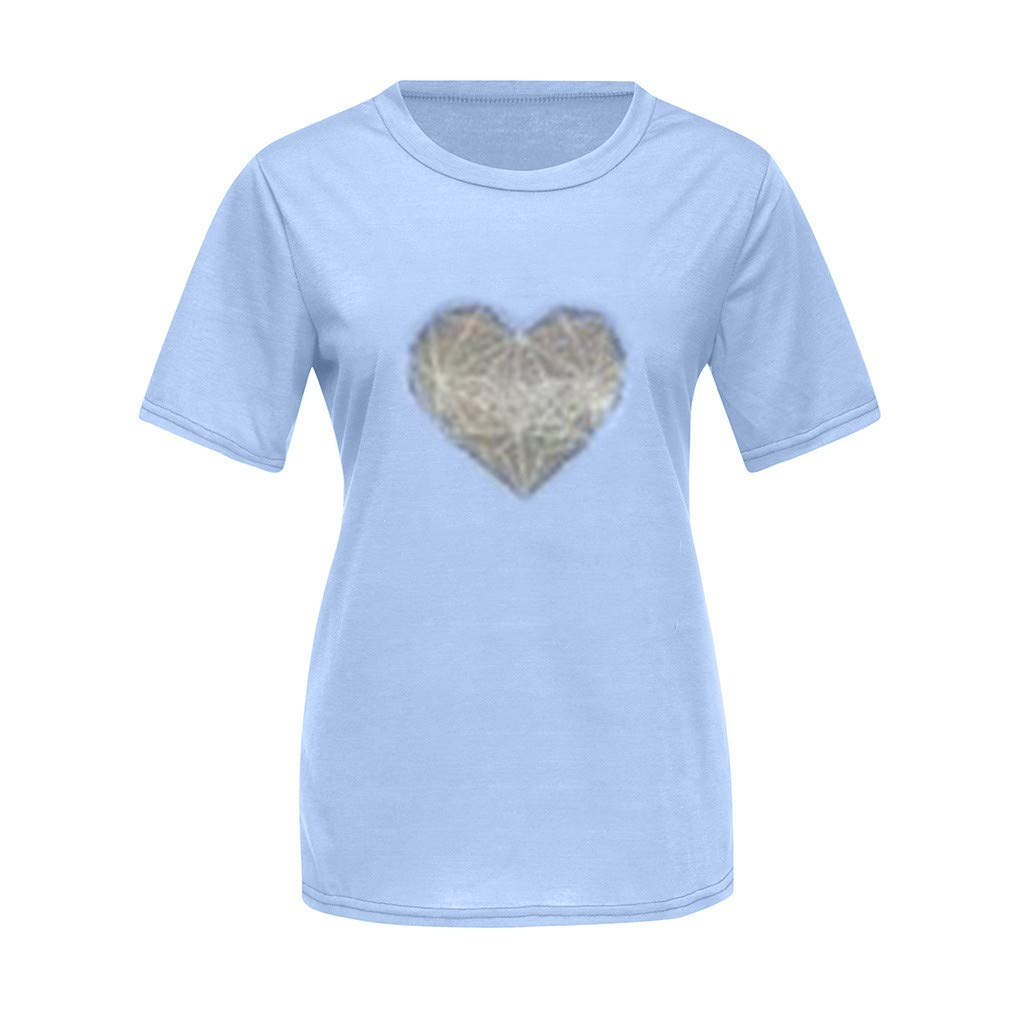 ♞Deadness Summer Mommy and Me T-Shirt Mother and Kids Cute Heart Pattern Tee O-Neck Short Sleeves Top
