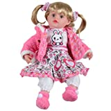 """Childrens Girls 14"""" Cute Sitting Soft Toy Doll - With Love Print Dress With Pink Jacket"""