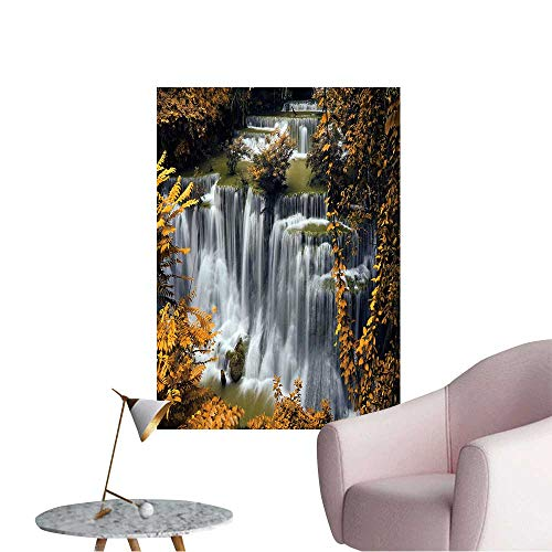 Wall Stickers for Living Room Waterfall and Blue Stream in The Yellow Forest Spring Season in Thailand Vinyl Wall Stickers Print,32
