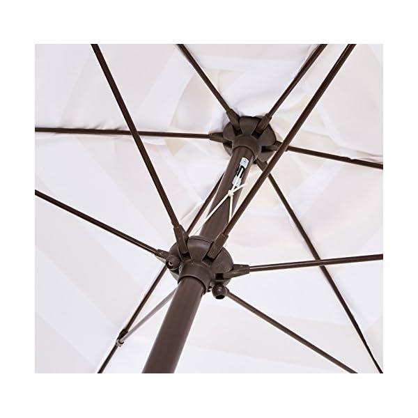 AmazonBasics - JC014 - Ombrellone da giardino, 2,74 m, a righe beige e bianche 4 spesavip