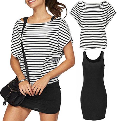 - Yinggeli Women's 2 Pieces Casual Loose T Shirt Tops Print Bodycon Mini Tank Dresses (Large, Black-Stripes)