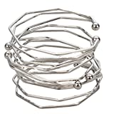 YISSION 4 Pack Fashion Simple Three-Dimensional Irregular Bracelet Bracelets for Women Girl (Silver)