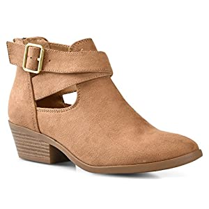 LUSTHAVE Women's Jen Stacked Chunky Low Heel Cut Out Cross Strap Ankle Casua Bootie Boots Buckle Back Zipper Heels Light Tan 10