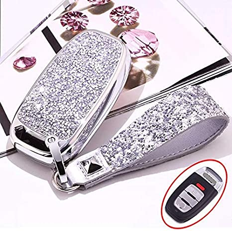 3 Buttons 3D Bling Smart keyless Remote Key Fob case Cover for Audi A3 S3 RS3 A4 S4 RS4 A5 S5 RS5 A6 S6 RS6 A7 S7 RS7 A8 S8 Q3 SQ3 Q5 SQ5 Q7 TT TTs TT RS No Keychain, Silver