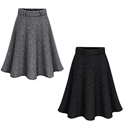 Women's Elastic High Waist A-line Pleated Blend Pleated Skirt Winter Fall Midi Skirt Plus Size Xs-4Xl