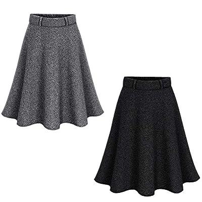Women's Elastic High Waist A-line Pleated Blend Pleated Skirt Winter Fall Midi Skirt Plus Size Xs-4Xl
