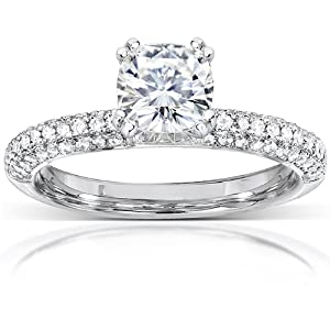 Cushion cut Moissanite Engagement Ring with Micro Pave Diamond 1 1/3 CTW 14k White Gold