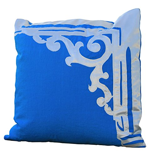 - Bicoastal Cottage Bracket 22 x 22 inch Designer Appliqued Throw Pillow, Original Laser Cut Ivory Satin on Vibrant Aqua Linen, Beach Architecture Victorian, Large Comfortable Colorful, Made in the USA