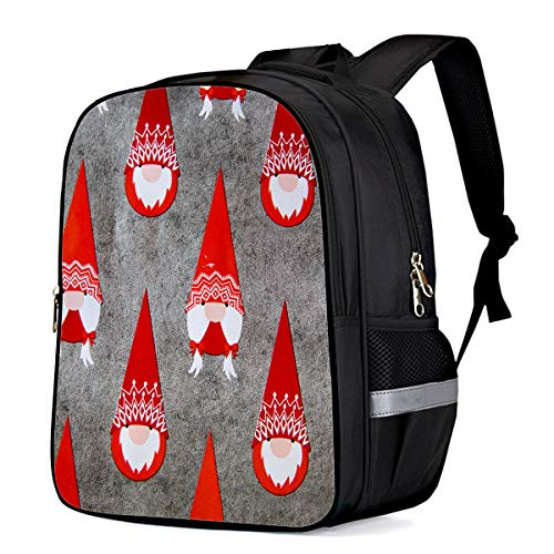 Unisex Durable School Backpack- Mottled Background Santa Claus, Lightweight Oxford Fabric School Bags with Reflective Strip Daypack Laptop Bags