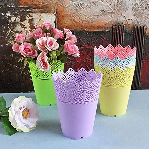 (Plastic Lace Filigree Plant Planter Flowers Pot Desk Holder Storage)