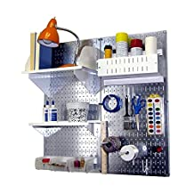 Wall Control Hobby Craft Pegboard Organizer Storage Kit, Metallic/White