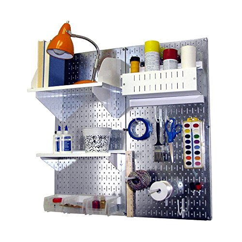 Wall Control Hobby Craft Pegboard Organizer Storage Kit, Metallic/White by Wall Control