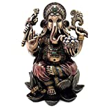 Top Collection Large 25-inch-tall Ganesh (Ganesha) on Lotus Pedestal Statue Hindu Elephant God of Success. Good Protection. Bronze Powder Mixed with Resin - Bronze Finish with Color Accents.