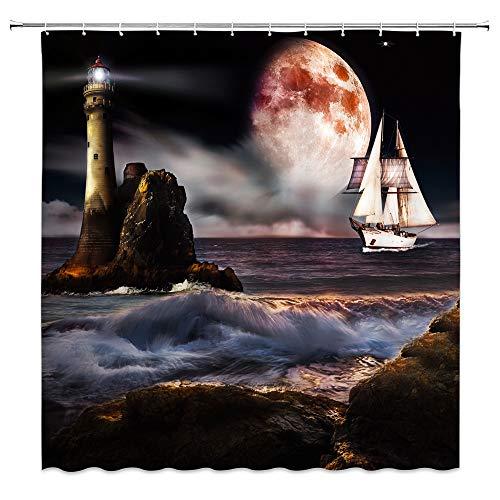 AMNYSF Fantasy Lighthouse Shower Curtain Tropical Ocean Night Scenery Sea Waves Sailboat Moon Decor Fabric Bathroom Curtains,70x70 Inch Waterproof Polyester with Hooks (Fabric Lighthouse Shower Curtain)