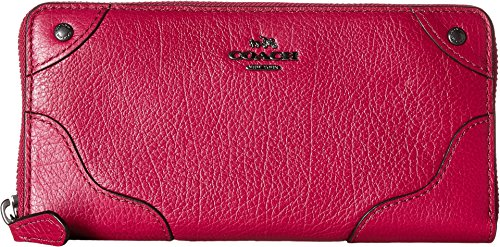 COACH Women's Grain Leather Mickie Accordion Zip Qb/Cranberry One Size