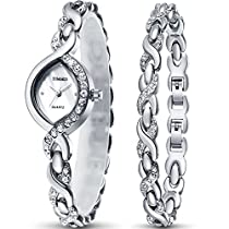 TIME100 Fashion Diamond Small Oval Shell Dial Bracelet Watches for Ladies W50119L