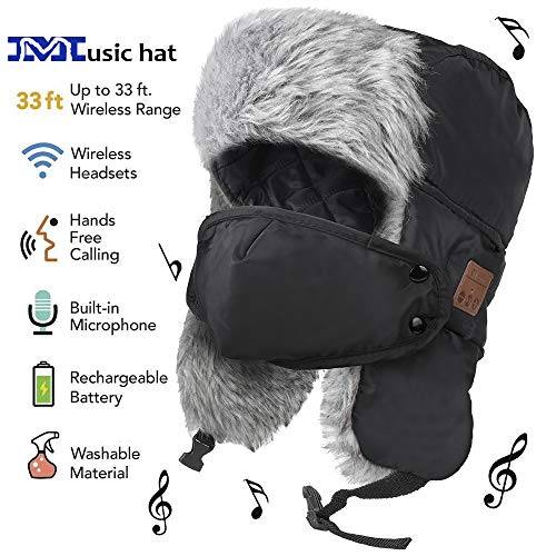 EverPlus Bluetooth Hat, Bluetooth Beanie hat Built-in HD Stereo Speakers & Microphone Rechargeable USB Winter Fitness Outdoor Sports (Trapper Hat) (Trapper Hat)