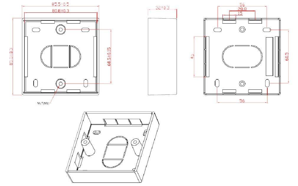 Marr/ón de baquelita Interruptor Socket montaje en superficie Pattress 1/Gang por Art Deco Emporium