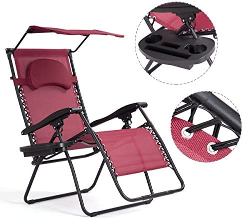 S AFSTAR Zero Gravity Chair with Shade Canopy, Recliner for Patio, Pool Garden Indoor and Outdoor, Folding Lounge Chair with Cup Holder Burgundy