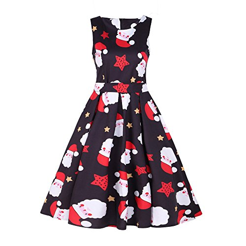 GOVOW Christmas 1950s Dresses for Women Vintage Santa Retro Xmas Evening Prom Swing Dress -