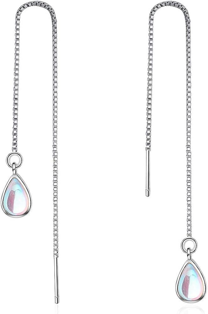 Pendientes colgantes de lágrima de piedra lunar multicolor para mujeres y niñas, de plata de ley 925