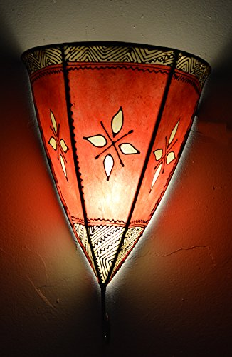 Henna Lamps & Sconces Moroccan Handmade Goat Leather Sconce henna tattoo Red