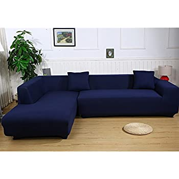 Universal Sofa Covers for L Shape 2pcs Polyester Fabric Stretch Slipcovers + 2pcs Pillow Covers  sc 1 st  Amazon.com : sectional sofas covers - Sectionals, Sofas & Couches