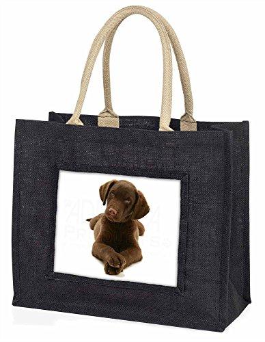 Advanta Schokolade Labrador Puppy Hund Große Einkaufstasche/Weihnachtsgeschenk, Jute, schwarz, 42x 34,5x 2cm