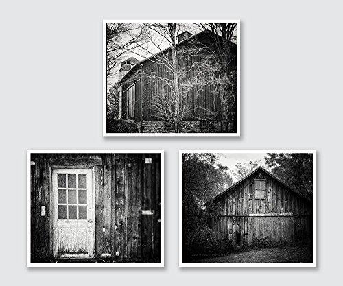 Black and White Farm Photograph Set of Three, Rustic Farmhouse Decor, Discount, Greyscale Country Art.
