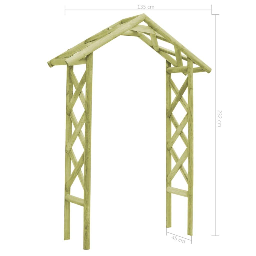 vidaXL Arco de jardín 135x45x232 cm Madera Pino impregnada Verde ...