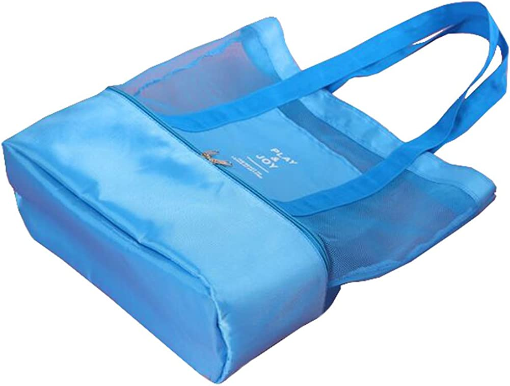 George Jimmy Double Layer Beach Bag Mesh Shopper Bag for Swimming and Yoga-Blue