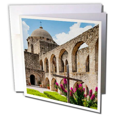 3dRose Danita Delimont - Architecture - Mission San Jose architecture - 12 Greeting Cards with envelopes (gc_260118_2)