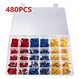 KINWAT 480pcs Insulated Terminal Connector Electrical Wire Assorted Crimp Terminal Butt Spade Ring Set Kit Red/Yellow/Blue