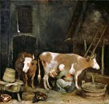 Oil Painting'A Maid Milking A Cow In A Barn, About 1652 - 1654 By Gerard Ter Borch' 16 x 17 inch / 41 x 43 cm , on High Definition HD canvas prints, Dining Room, Home Theater, Laundry Room Decoration