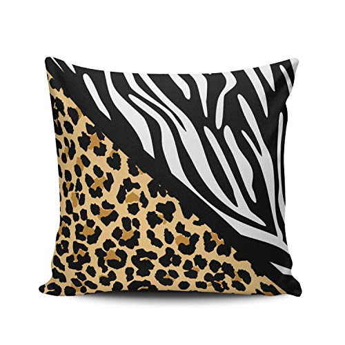 KAQIU Home Decoration Throw Pillowcase Tan and White Stylish Leopard Print and Zebra Print Custom Pillow case Cushion Cover Fashion Chic Design Double Sided Printed Square Size 24X24 Inch ()
