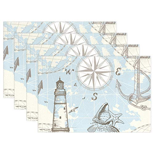 Jereee Vintage Nautical Map Anchor Set of 6 Placemats Heat-Resistant Table Mat Washable Stain Resistant Anti-Skid Polyester Place Mats for Kitchen Dining Decoration ()