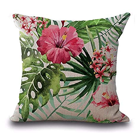 YWLINK 1PC Plaza Flor De éPoca Hojas Tropicales Cintura Throw Pillow Case CojíN Home Deco 45cm X 45cm Regalo para Mamá