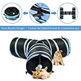 SlowTon Cat Tunnel Toy, Crackle Paper Collapsible Tube Three Connected Run Road Way Tunnel Catnip House with Fun Ball Puzzle Exercising and Playing for Kitten Rabbits and Small Dogs Xmas Gift