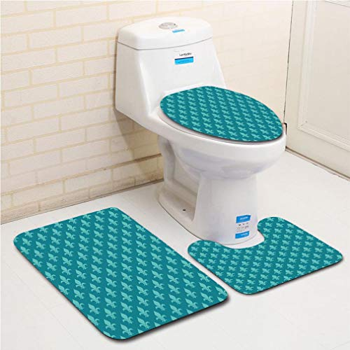 - Family bathroom set of 3, bathroom rug + contour pad + lid toilet seat Fleur de Lis,Classical Retro Style Victorian Damask Pattern with Arabesque Oriental Effects Image Decorative,Teal flannel carpet