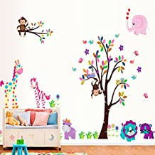 Colorful Tree Flowers Birds Giraffe Monkey Elephant Lion Tiger Animals Wall Decal Home Sticker Paper Removable Living Room Bedroom Art Picture DIY Mural Girls Boys kids Nursery Baby Playroom Decoration + Gift Colorful Butterflies