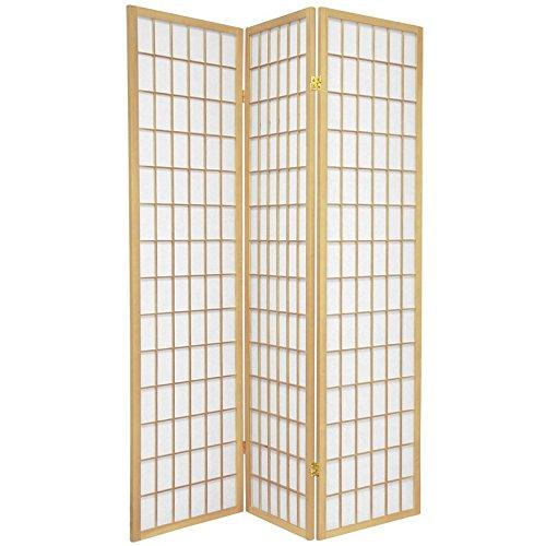 (Oriental Furniture 6 ft. Tall Window Pane Shoji Screen - Natural - 3 Panels)
