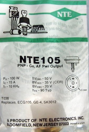 NTE Electronics NTE105 NTE Electronics NTE105 PNP Germanium Transistor for Audio Power Amplifier, TO-36 Case, 15A Continuous Emitter Current, 40V Collector-Base Voltage Amplifier Power Transistors