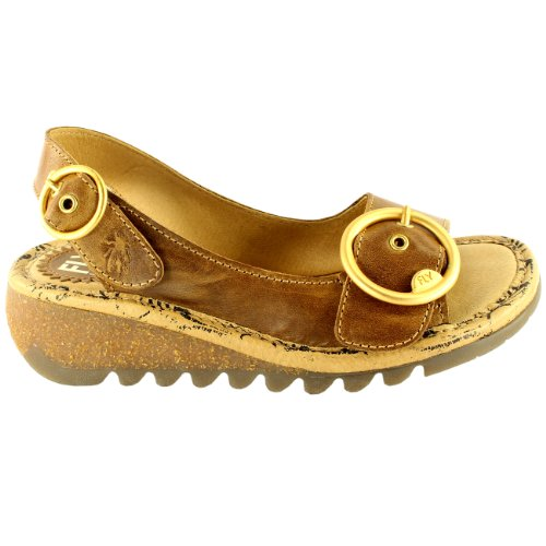 Womens Fly London Tram Low Wedge Zomervakantie Gesp Open Teen Sandalen Tan