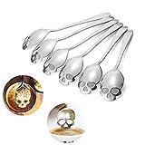 6 PCS Sugar Spoon , Skull Design Stainless Steel Tea Coffee Sugar Stirring Spoon Scoop Teaspoon