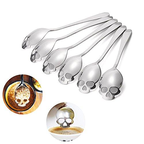 Fork And Beans Halloween (6 PCS Sugar Spoon , Skull Design Stainless Steel Tea Coffee Sugar Stirring Spoon Scoop)