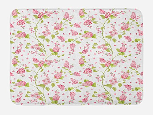 Ambesonne Shabby Flora Bath Mat, Nature Blossoms Buds Flowers Lavenders Florals Leaves Ivy Artwork, Plush Bathroom Decor Mat with Non Slip Backing, 29.5